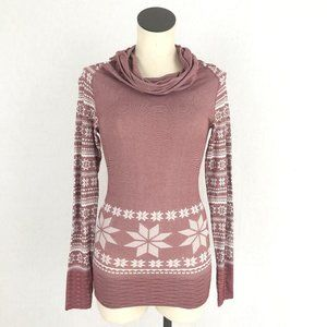 Climawear Pink Fair Isle Cowl Neck Top Sz S